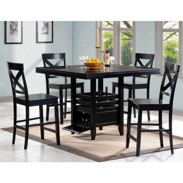 Black Wood 5 Piece Counter Height Dining Set Free