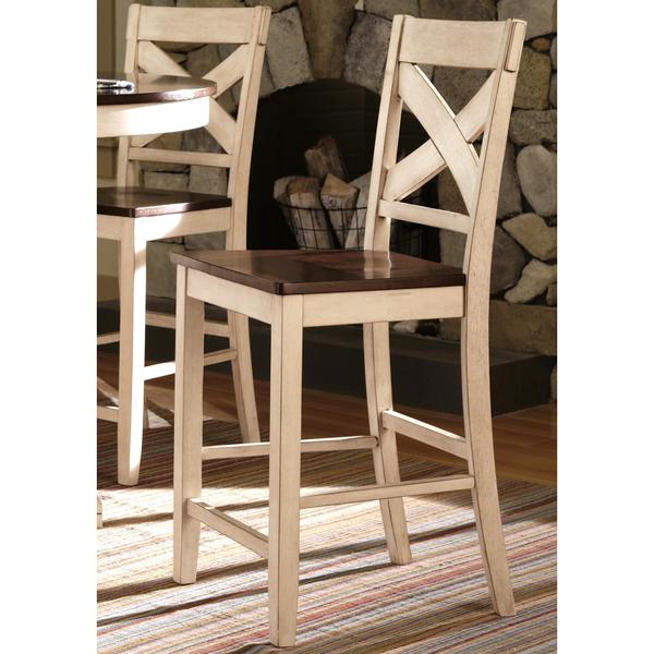 Shop Limonium Antique White Cross Back Counter Stools Set