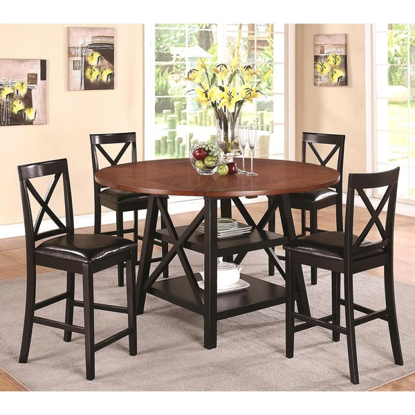 arosa rustic oak black counter height 5 piece dining set free