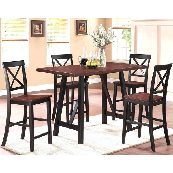shop verrazano two tone counter height 5 piece dining set free shipping today 9242098. Black Bedroom Furniture Sets. Home Design Ideas