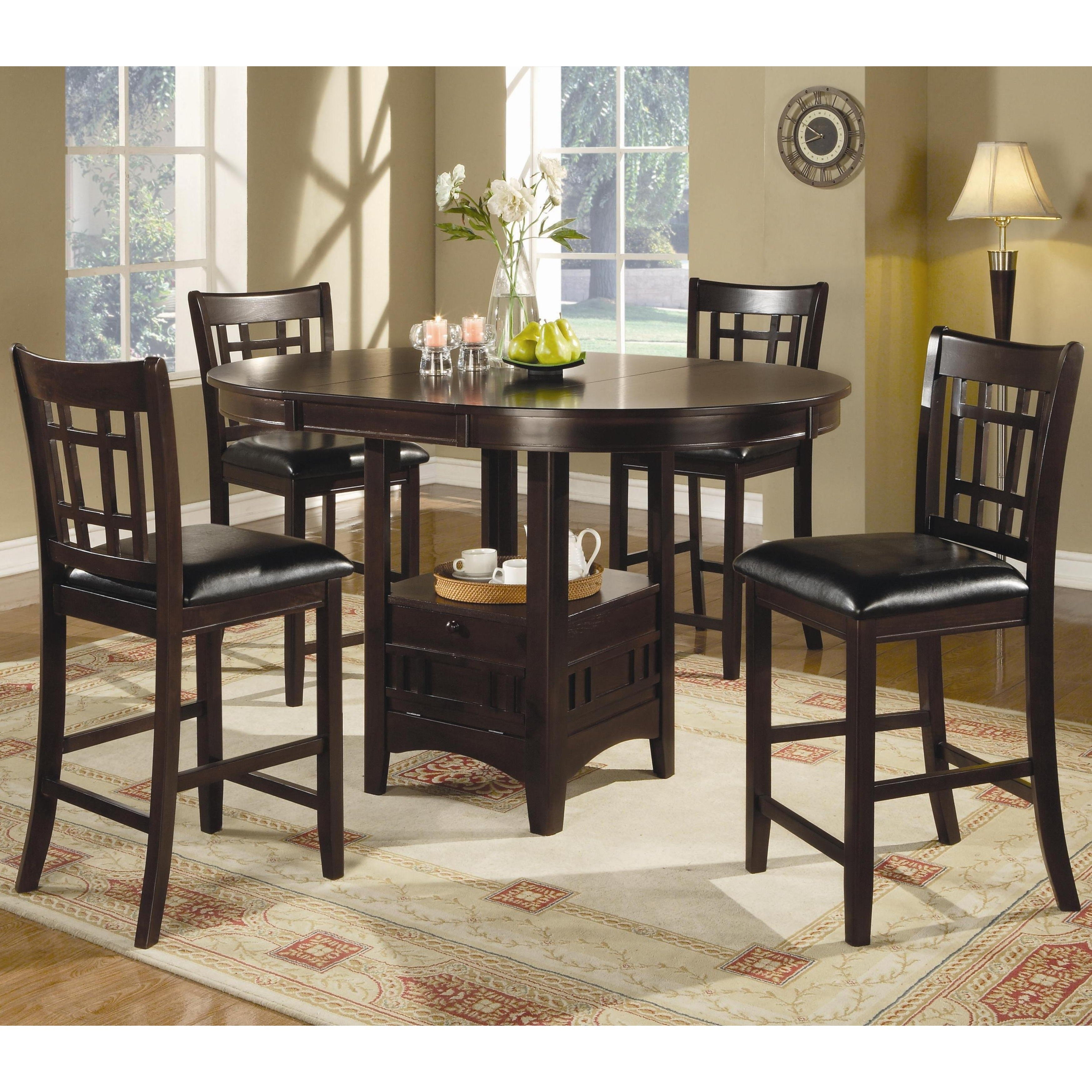 Quince Counter Height Espresso Dining Set (1 Table 4 Stoo...
