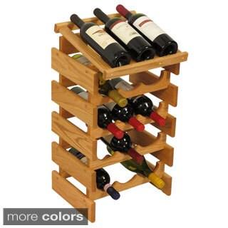 15-bottle Stackable Wood Dakota Wine Rack with Display Top