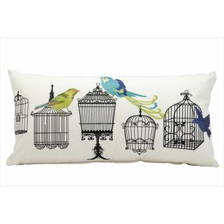 Mina Victory Indoor/Outdoor Bird Cages White Throw Pillow (12-inch x 24-inch) by Nourison