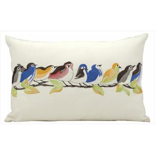 Mina Victory Indoor/Outdoor Nine Birds On a Wire White Throw Pillow (12-inch x 18-inch) by Nourison