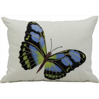 Mina Victory Indoor/Outdoor Blue Butterfly Ivory Throw Pillow (12-inch x 16-inch) by Nourison