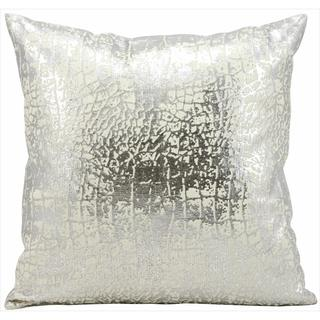 kathy ireland Metallic Snake Skin Silver Throw Pillow (18-inch x 18-inch) by Nourison
