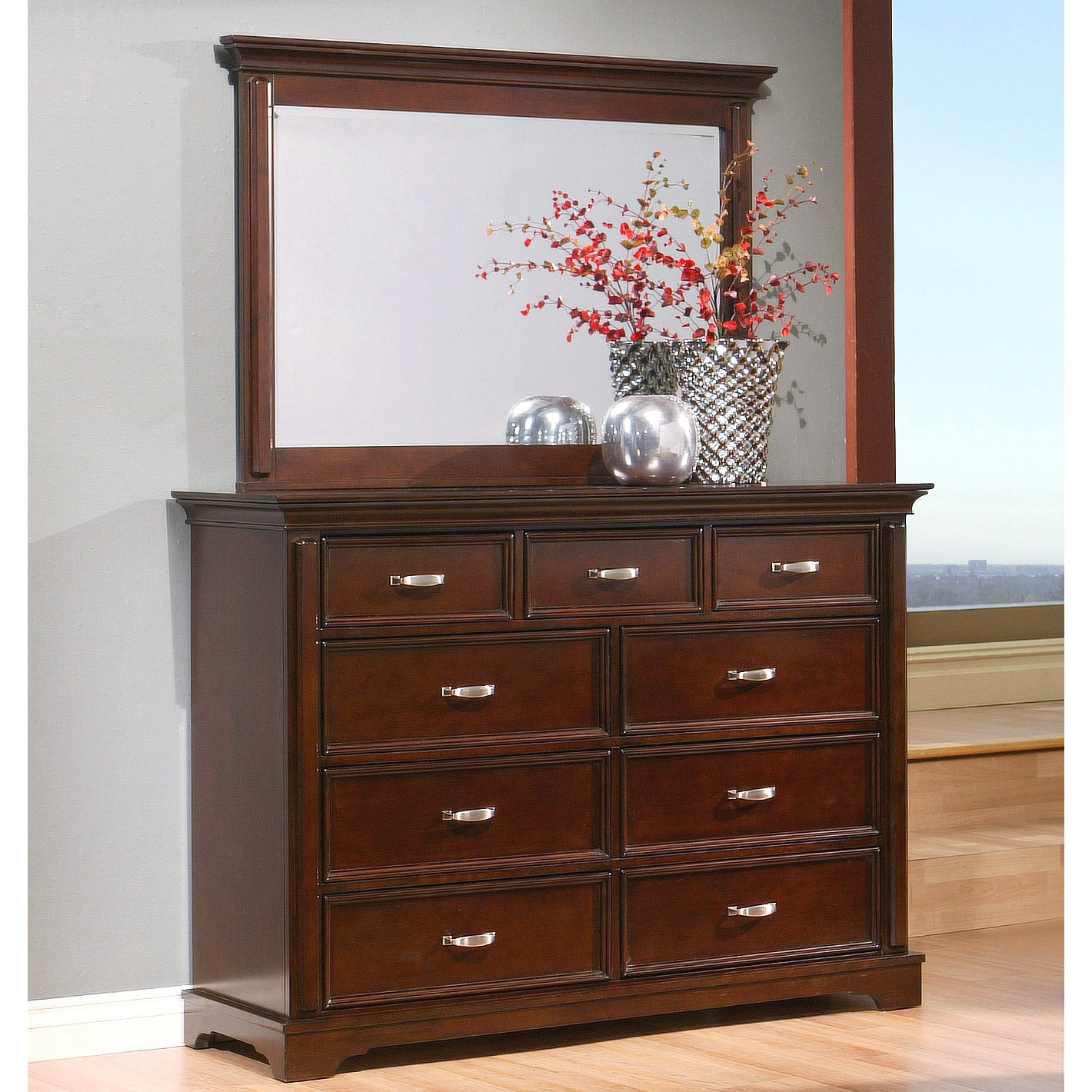 Abbyson Tuscany 9 Drawer Dresser And Mirror Set Overstock 9242259