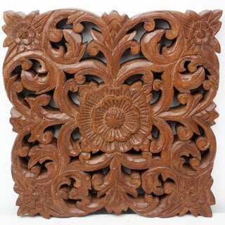 Set of 2 Hand-crafted Brown Acacia Mini Lotus Wall Panel  , Handmade in Thailand