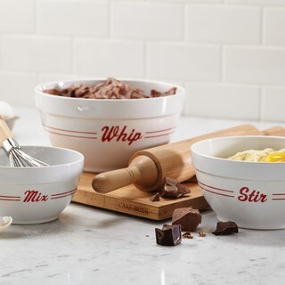 Cake Boss Countertop Accessories 3-piece Bistro Pattern Melamine Mixing Bowl Set