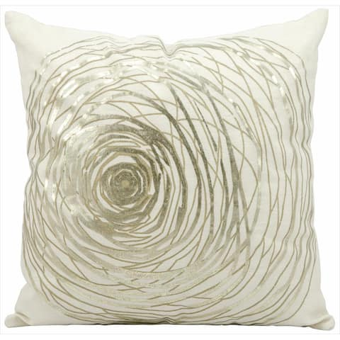 kathy ireland Silver Rose White Throw Pillow by Nourison (19-Inch X 19-Inch)