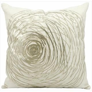 kathy ireland Silver Rose White Throw Pillow (19-inch x 19-inch) by Nourison
