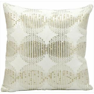 kathy ireland Silver Globes White Throw Pillow (16-inch x 16-inch) by Nourison