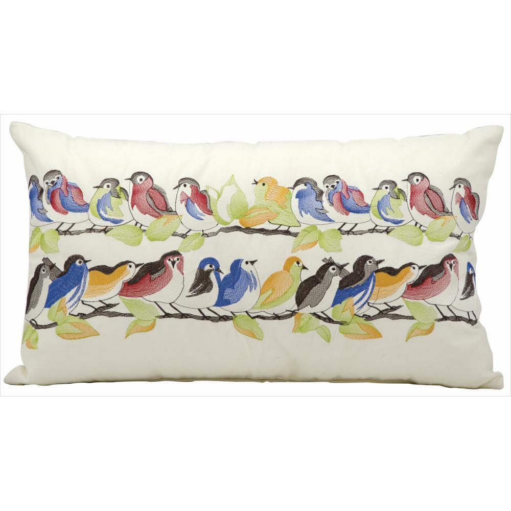 Mina Victory Indoor Outdoor 23 Birds On Wire White Throw Pillow 14 Inch X 24 Inch By Nourison On Sale Overstock 9242281