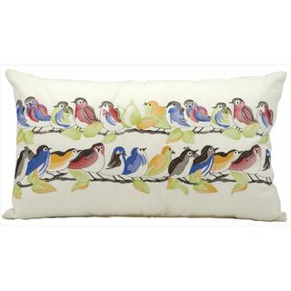 Mina Victory Indoor/Outdoor 23 Birds On Wire White Throw Pillow (14-inch x 24-inch) by Nourison