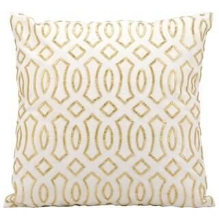 kathy ireland Golden Coast White/Gold Throw Pillow (18-inch x 18-inch) by Nourison