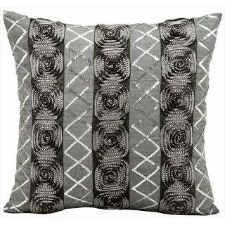 kathy ireland Studded Roses Black/Silver Throw Pillow (16-inch x 16-inch) by Nourison
