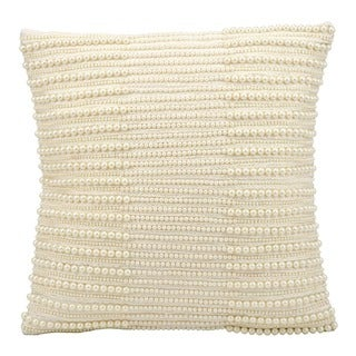 kathy ireland Pearl Stripes Ivory Throw Pillow (16-inch x 16-inch) by Nourison