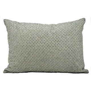 kathy ireland Tic Tac Toe Beads Silver/Grey Throw Pillow (14-inch x 20-inch) by Nourison