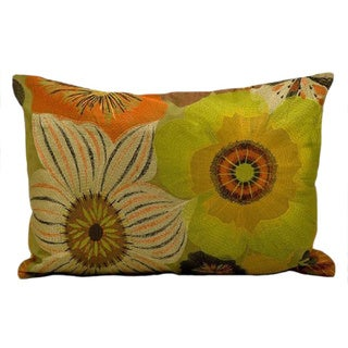 kathy ireland Citron Flowers Multicolor Throw Pillow (14-inch x 20-inch) by Nourison