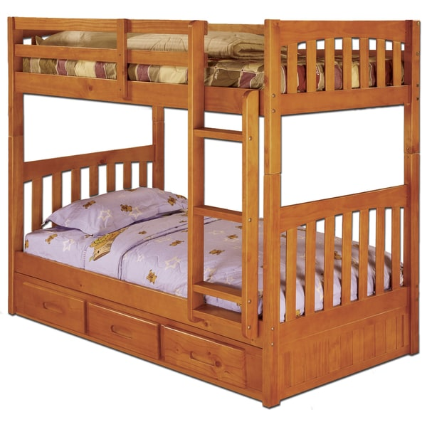shop honey stained twin over twin bunk bed with 3 drawers on sale free shipping today. Black Bedroom Furniture Sets. Home Design Ideas