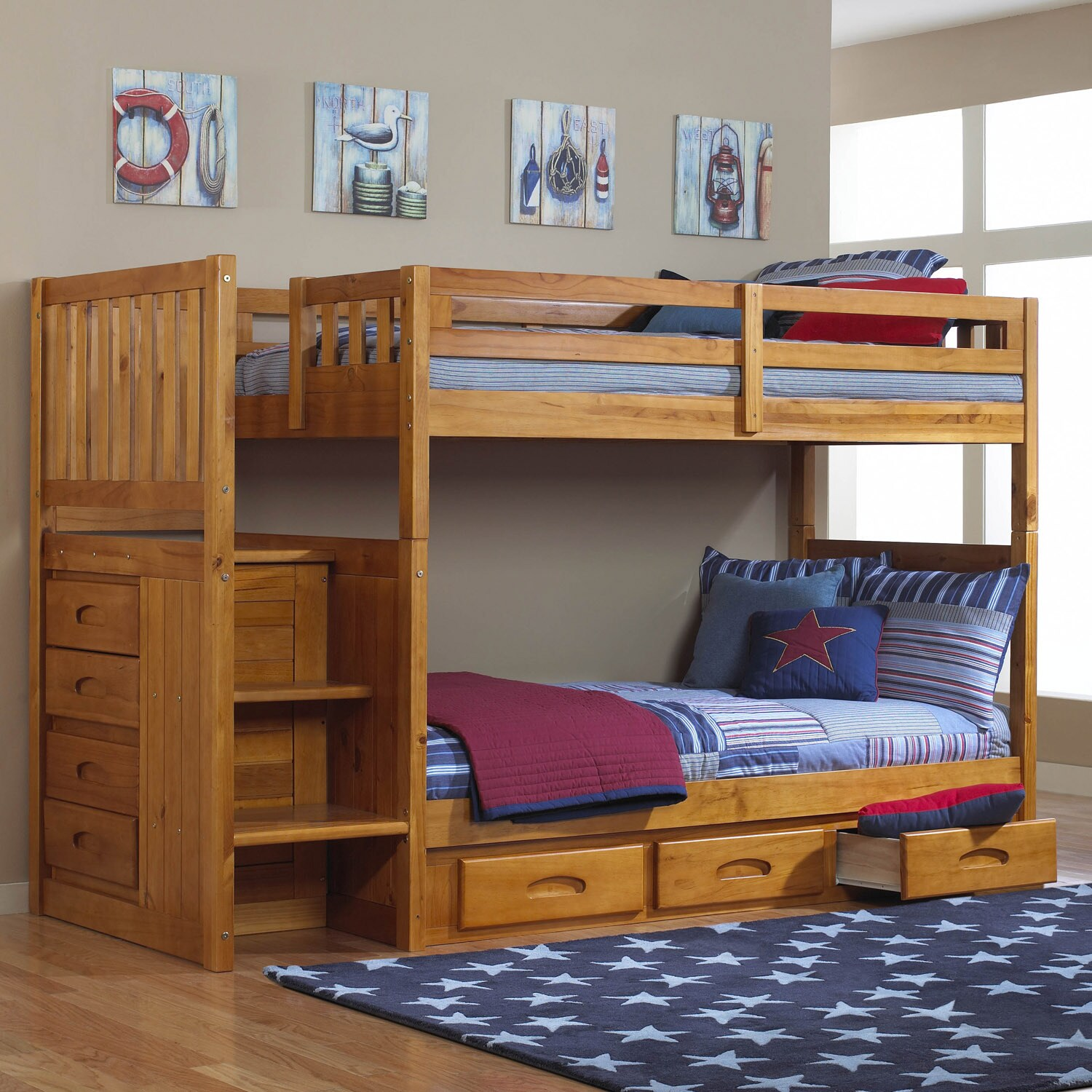 American Mission Staircase Twin-over-Twin Bunk with 4-dra...