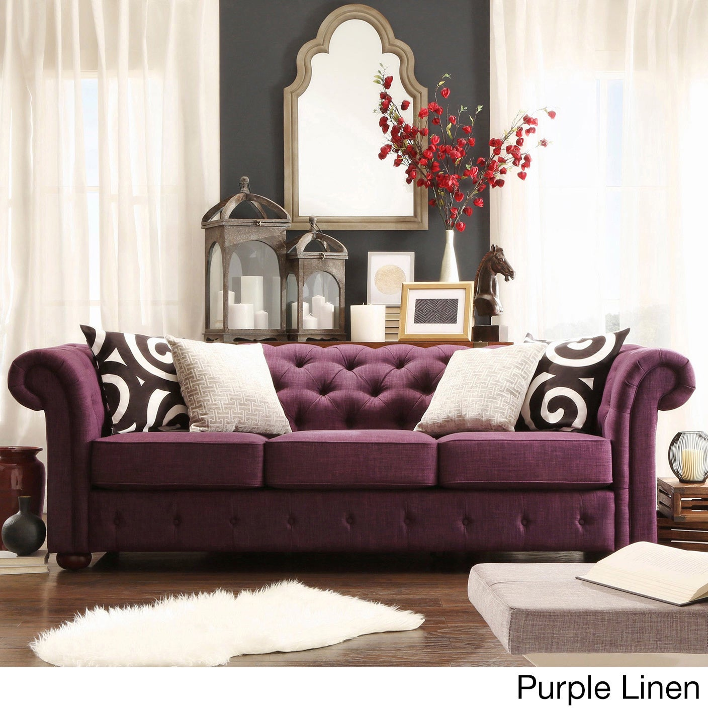 Knightsbridge Tufted Scroll Arm Chesterfield Sofa By INSPIRE Q Artisan  (Option: Purple Linen Sofa