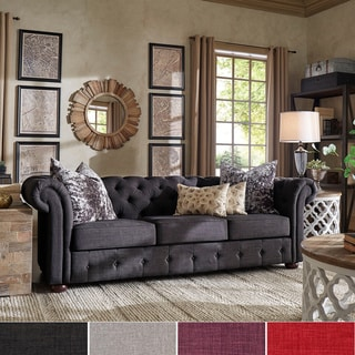 Tribecca Home Tufted Scroll Arm Chesterfield Sofa