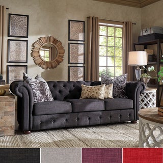 Chesterfield Tufted Scroll Arm Sofa by TRIBECCA HOME