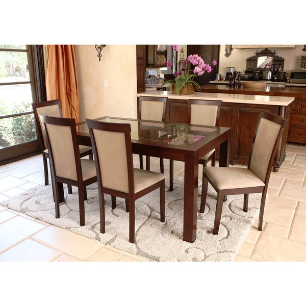 Abbyson Living Montego Cappuccino Wood Glass 7 Piece