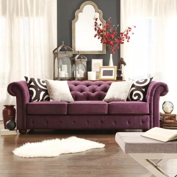Tribecca Home Clove Dark Grey Linen Contemporary Sofa