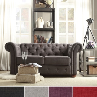 Knightsbridge Linen Tufted Scroll Arm Chesterfield Loveseat by SIGNAL HILLS
