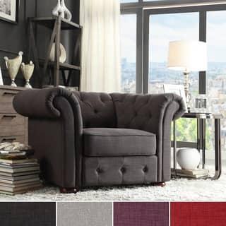 SIGNAL HILLS Knightsbridge Linen Tufted Scroll Arm Chesterfield Chair|https://ak1.ostkcdn.com/images/products/9242321/P16408514.jpg?impolicy=medium