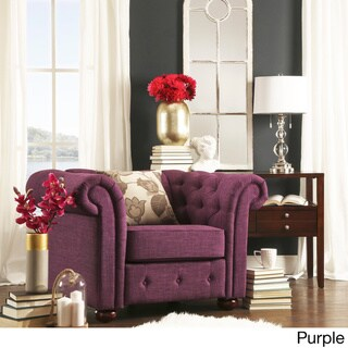 Knightsbridge Linen Tufted Scroll Arm Chesterfield Chair by SIGNAL HILLS