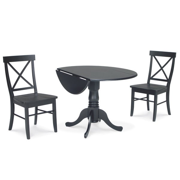 Black Dining Table With Leaf: Dining Essentials 3-piece Black Dual Drop-leaf 42-inch