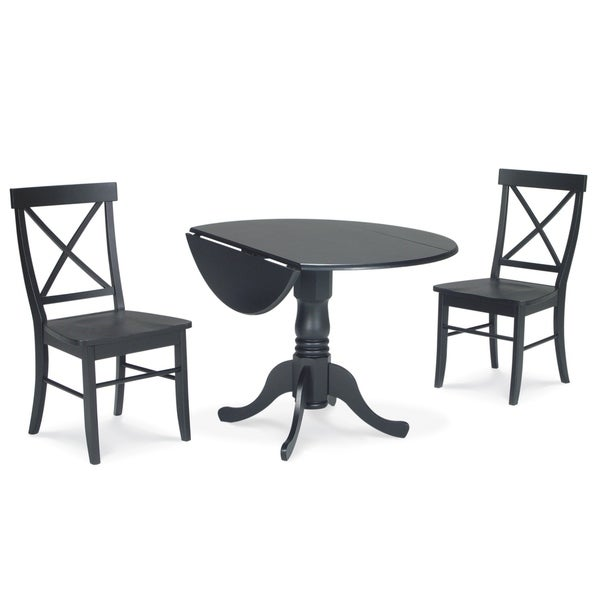 Black Dining Table With Leaf: Shop Dining Essentials 3-piece Black Dual Drop-leaf 42
