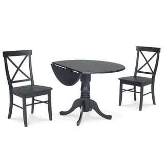 Dining Essentials 3-piece Black Dual Drop-leaf 42-inch Table and X-back Chair Set
