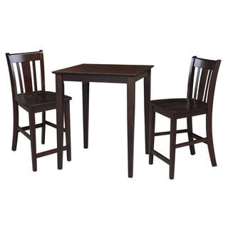 Dining Essentials 3-piece Rich Mocha Table and San Remo Stool Set