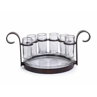 """""""Regale"""" 7-Piece Tequila Shot Glass Serving Set, Bronze"""