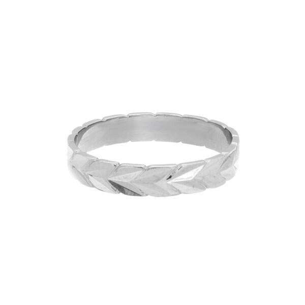 Sterling Essentials Sterling Silver Diamond-cut Chevron Midi Ring