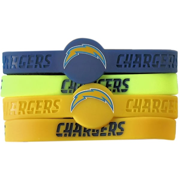 NFL San Diego Chargers Silicone Wrist Bracelets (Set of 4)