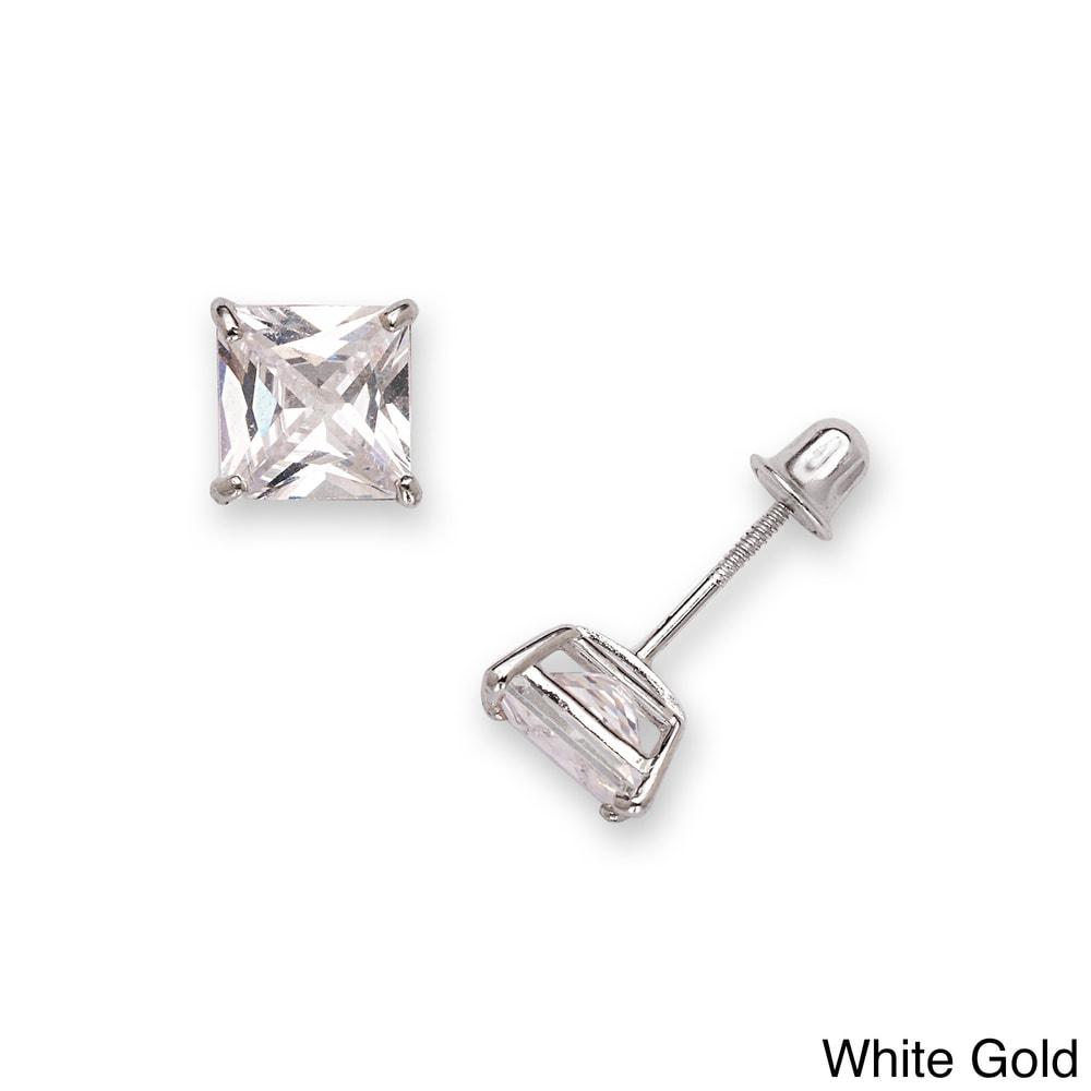 14K Solid Gold Minimalist Princess-Cut Solitaire CZ Screw Back Stud Post Earrings