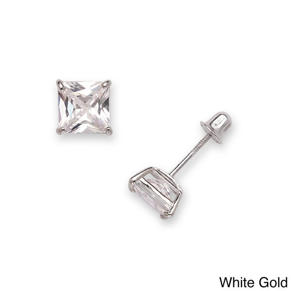 14k Gold 6 Mm Princess Cut Cubic Zirconia Back Stud Earrings