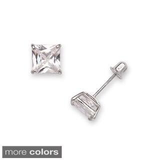 14k Gold 6 mm Princess-cut Cubic Zirconia Screwback Stud Earrings