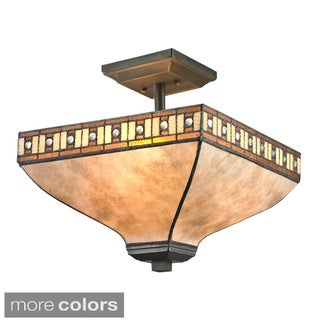 Z-Lite Crimson 3-light Amber Tiffany-style Styled Glass Semi-flush Mount
