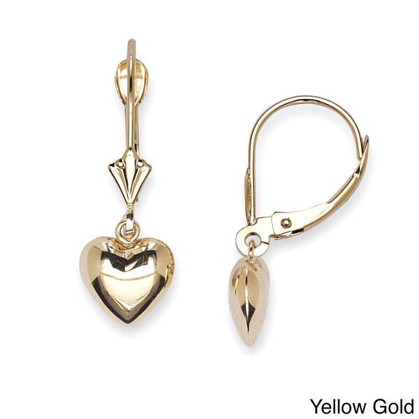 14k Gold Hanging Heart Leverback Dangle Earrings