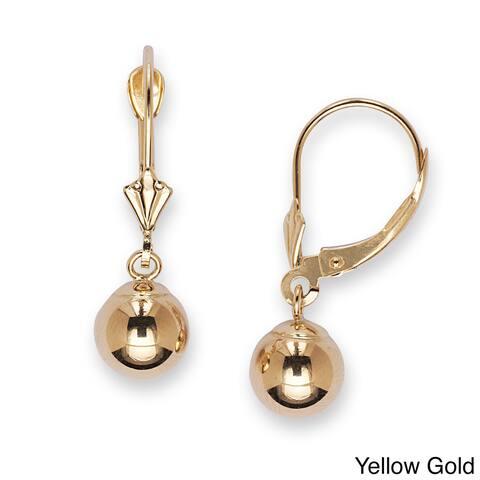 14k Gold 8 mm Ball Drop Leverback Dangle Earrings