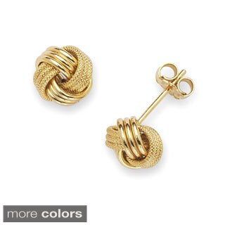 Solid 14k Gold 8 mm Polished/ Textured Loveknot Stud Earrings