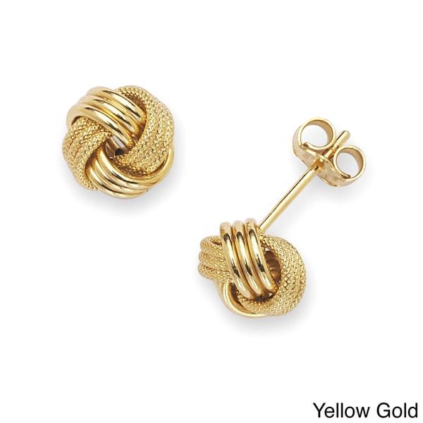 9ef0fb7c0 Shop Solid 14k Gold 8 mm Polished/ Textured Loveknot Stud Earrings ...