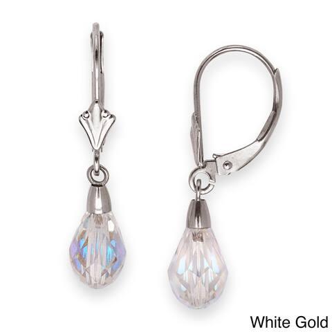 Solid 14k White Gold Briolette Crystal Leverback Dangle Earrings