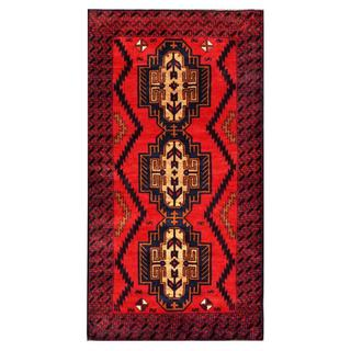 Herat Oriental Semi-antique Afghan Hand-knotted Tribal Balouchi Navy/ Red Wool Rug (3'5 x 6'6)